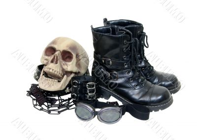 Macabre gothic leather items