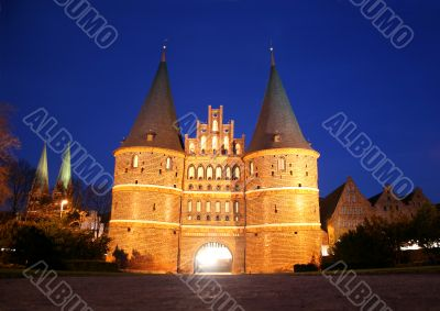 Famous gate Holstentor in Lubeck, Germany