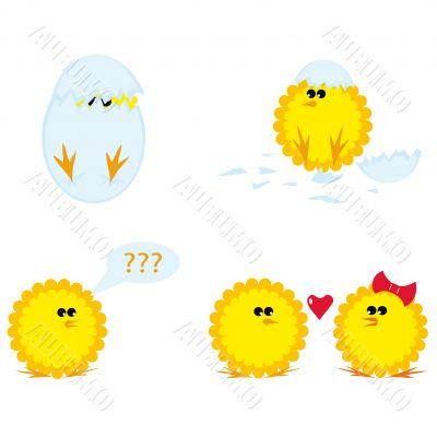 Set of cartoon chickens