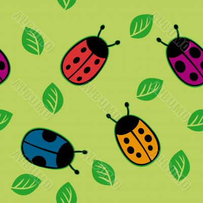 Seamless pattern with color ladybirds