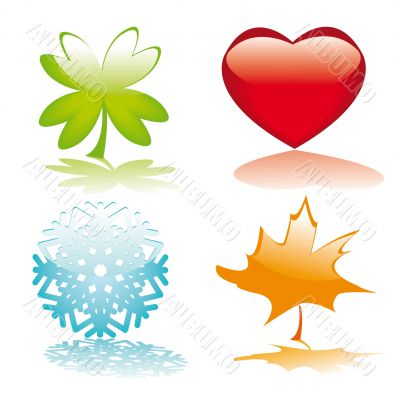 Four glossy buttons for holidays design