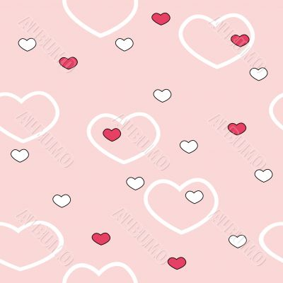 Seamless background with color hearts