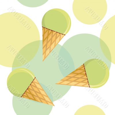 Seamless pattern with mint ice-cream
