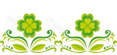 Seamless ornament with green quatrefoils