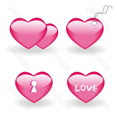 Set of four icons with hearts for st.Valentine day