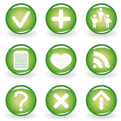 Set of green web icons for your design 2