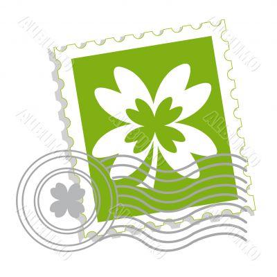Postage stamp with clover leaf