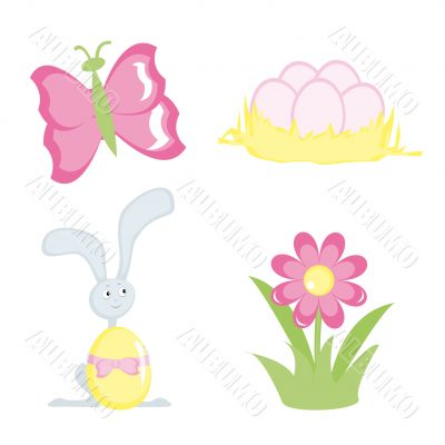 Cartoon icons for Easter design