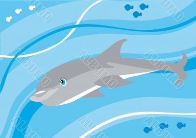 Cartoon dolphin underwater