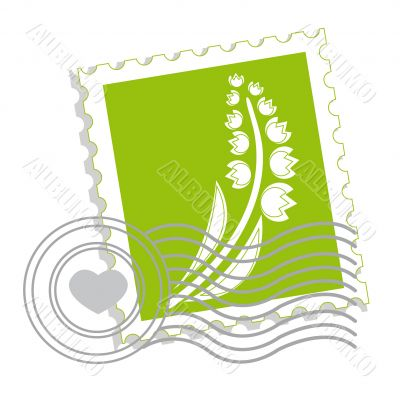 Postage stamp with lily of the valley