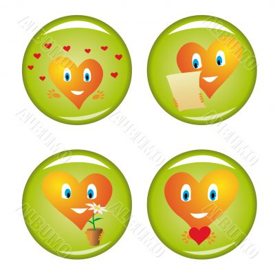 Set of four st. Valentine buttons