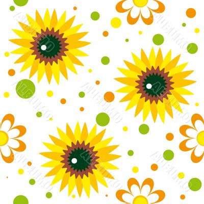 Seamless pattern with sunwlowers