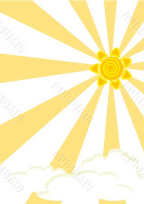 Striped background with sun