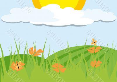 Landscape with orange flowers