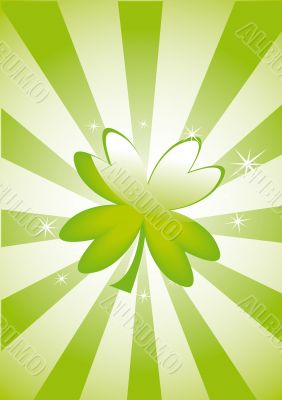 Clover leaf on striped background