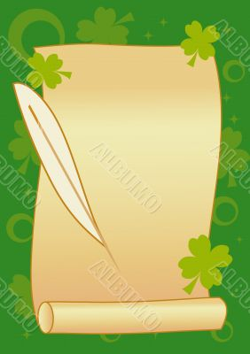 Scroll with feather on green background