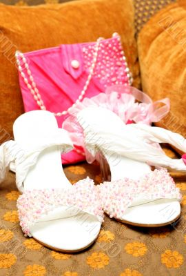 Bridal shoes with beads and bag