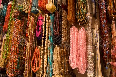 collection of many colorfull necklaces