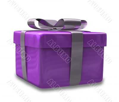 white gift with purple wrap - 3d made