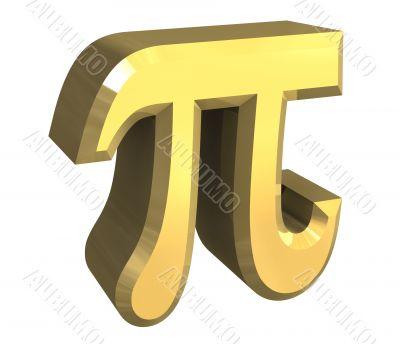 pi symbol in gold - 3d made