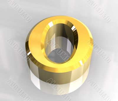 Omicron symbol in gold  - 3d made