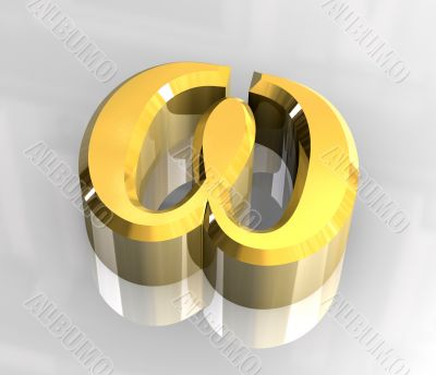 Omega symbol in gold - 3d made