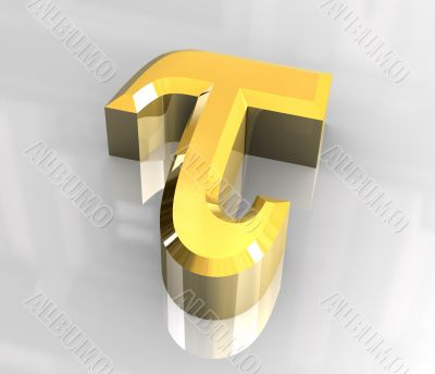 Tau symbol in gold - 3d made