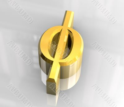 Phi symbol in gold - 3d made