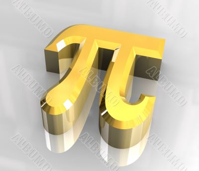 pi symbol in gold - 3d made