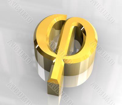 phi symbol in gold - 3d made