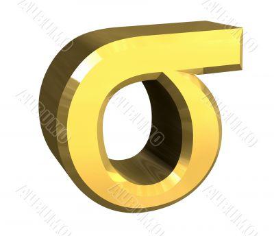 sigma symbol in gold - 3d made