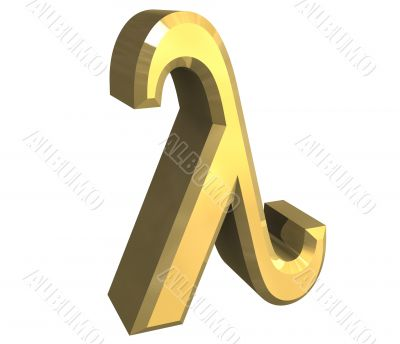 lambda symbol in gold - 3d made