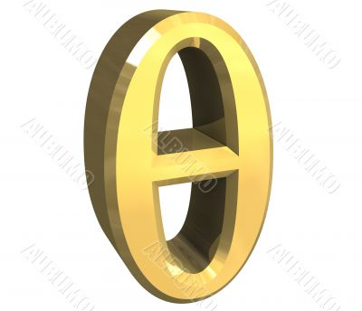 theta symbol in gold - 3d made