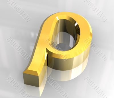 rho symbol in gold  - 3d made