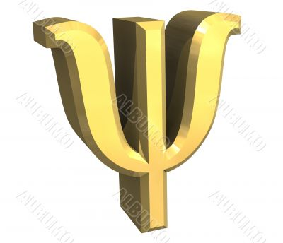 psi symbol in gold - 3d made