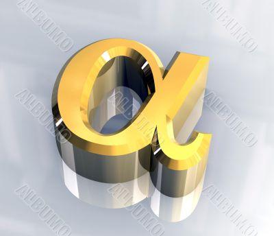 Alpha symbol in gold - 3d made