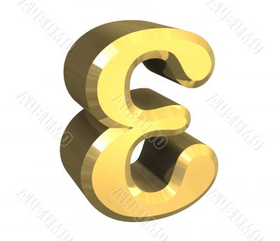 epsilon symbol in gold - 3d made