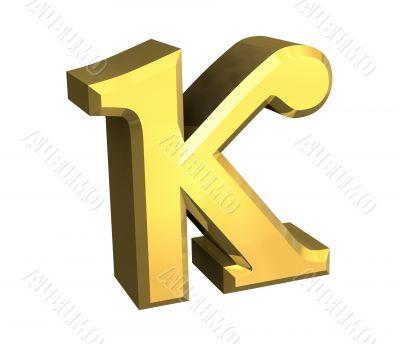 kappa symbol in gold - 3d made