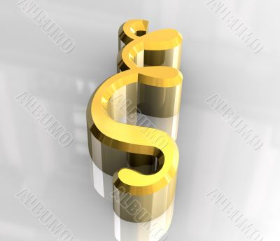 xi symbol in gold - 3d made