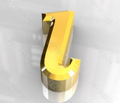 iota symbol in gold - 3d made