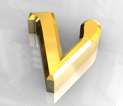 nu symbol in gold - 3d made