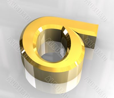 Sigma symbol in gold - 3d made