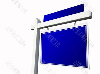 Blank Blue Real Estate Sign on White