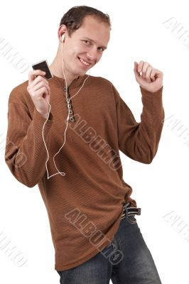 Young caucasian man listening to music