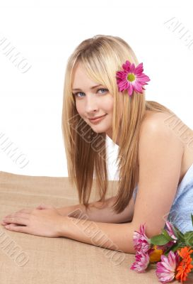 Beautiful blonde woman at a spa