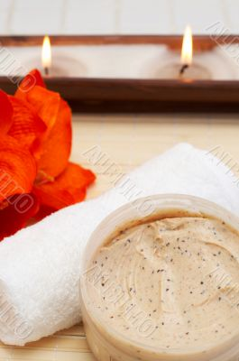 Relaxing spa scene with body products