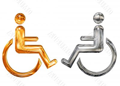 Golden and silver patterned symbol of handicap wheelchair invalid icon