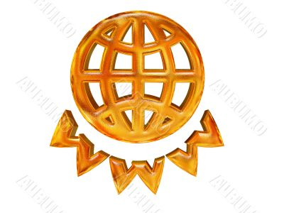 golden patterned globe and WWW letters - internet concept over white