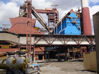 Metallurgical works with blast furnaces
