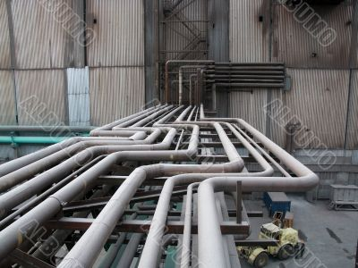 Above-ground pipeline on the factory